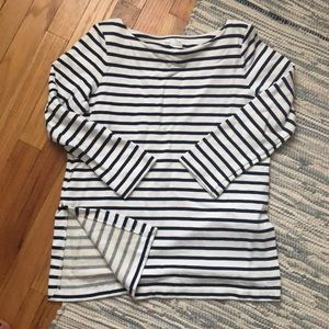 Club Monaco thick cotton stripped 3/4 sleeve top